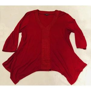 Adrianna Papell red shark bite top sz large